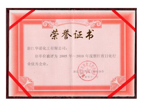 2005年~2010年浙江省日化行业优秀企业